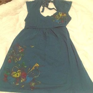 Blue baby doll dress with rainbow prints